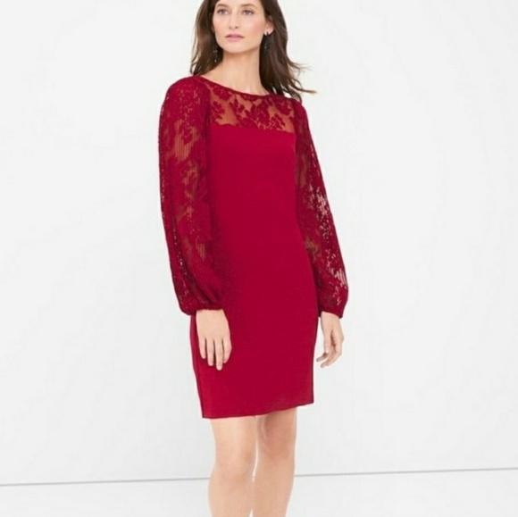 Whbm Lace Sleeve Collar Midi Dress Euc